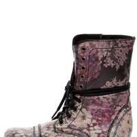 Steve Madden Blomm Floral Multi Print Leather Combat Boots