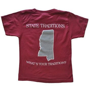 MS Starkville Gameday T-Shirt in Maroon by State Traditions