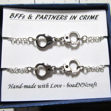 NF/LF Partners in Crime handcuff bracelets, 2x silver tone rolo chain friendship bracelet, long distance friendship quote gift