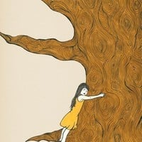 tree hugger Art Print FINALLY SAFE by shirae on Etsy