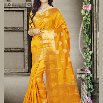 Attractive Looking Tussar Silk Yellow Ethnic Saree Womens