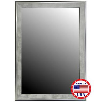 Hitchcock Butterfield Scratched Wash White And Silver Trim Framed Wall Mirror 2557000