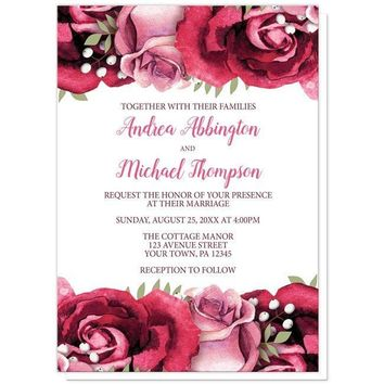 Rustic Burgundy Pink Rose White Wedding Invitations