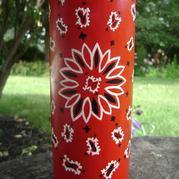 Red Bandana Vase upcycled wine bottle, red, white, black, centerpiece, hand painted