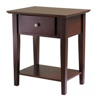 Square Shaped Wooden Shaker Night Stand with Drawer by Winsome Woods