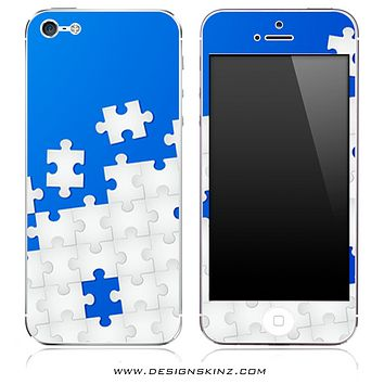 Blue & White Puzzle iPhone Skin