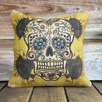 Sugar Skull Pillow Cover Sunflowers Throw Pillow by TheWatsonShop