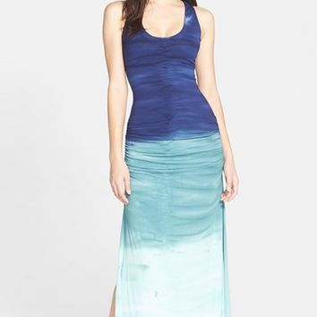Women's Sky Crochet Back Ruched Tie-Dye Maxi Dress