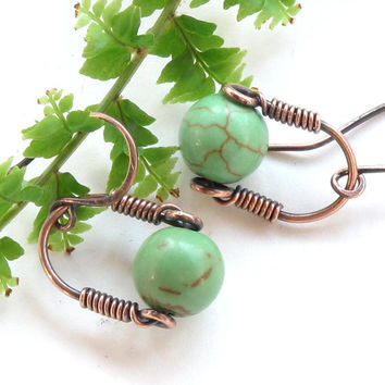 Green dangle earrings - stone bead turquoise copper wire wrapped drop earrings