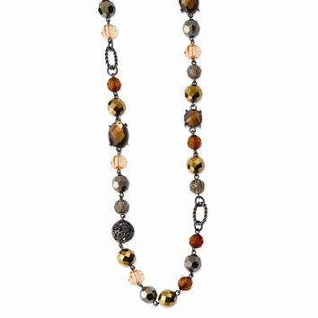 Black-plated Multicolor Glass & Beads w/ Velour Cord Necklace