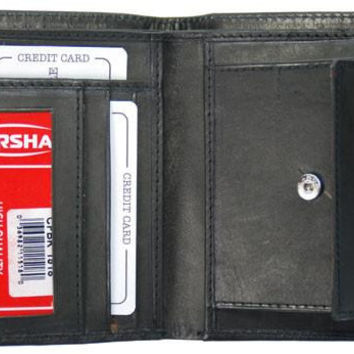 Mens Genuine Leather Card Holder ID Coin Pouch Bifold Wallet 1518 CF (C)