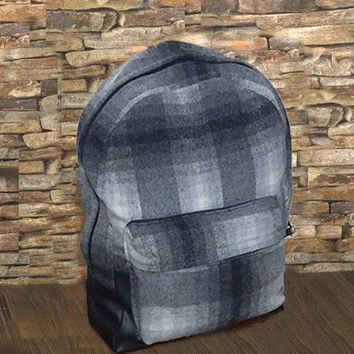 Woolen Plaid Rucksack, Hipster Bohemian Backpack, Drawstring bag, Neutral Woolen Travel Bag, Gray Bucket Backpack, laptop pack