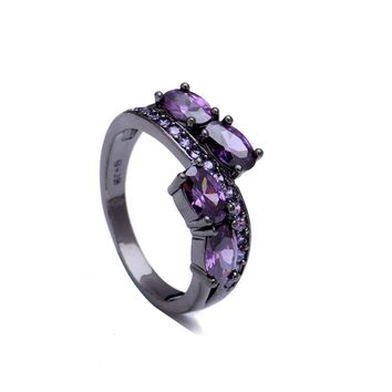 Lady's Black gold-color Princess-cut luxury jewelry 2016 Hot sale micro paved purple blue pink cubic zircon Wedding Ring