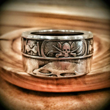 "Silver Memento Mori Ring- ""Remember That You Must Die"" (Latin) - Hand Forged Pure Silver Coin Ring (Antiqued)"