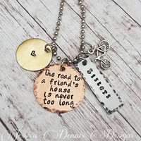 The road to a friend's house * Hand Stamped * Bicycle Charm * Sisters * Best Friends necklace * Mixed Metals * Heart * Cluster Necklace