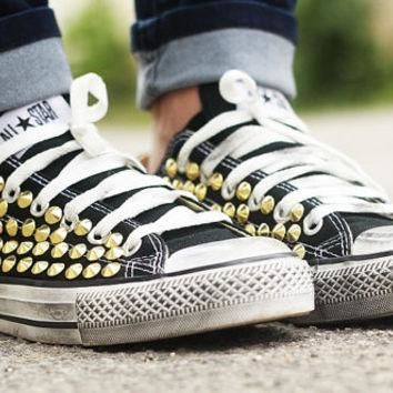 Studded Converse, Converse Black Low Top with Gold cone rivet studs by CUSTOMDUO on ET