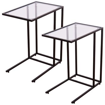 2PCS Coffee Tray Side Sofa End Table Ottoman Couch Stand TV Lap W/Glass Top