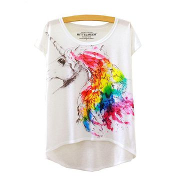Collection: Unicorn, Rainbow, Weed, Tree, Cat, Beach Umbrella Watercolor Painted Women's Flowy Loose T-Shirts