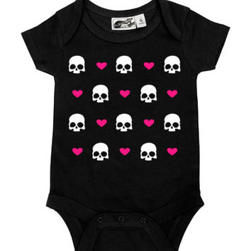 Hearts & Skulls Black & Hot Pink One Piece