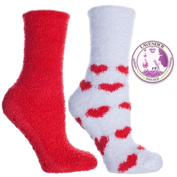 Non Skid Slipper Socks with Grippers — Lavender Infused Heart — 2 Pair
