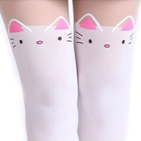 HDE Women's Fun Pattern Printed Tattoo Pantyhose Stockings (White Neko Cat Mock Thigh Highs)
