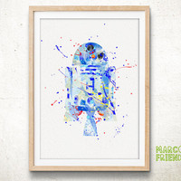 R2-D2, Star Wars - Watercolor, Art Print, Home Wall decor, Watercolor Print, Star Wars Poster