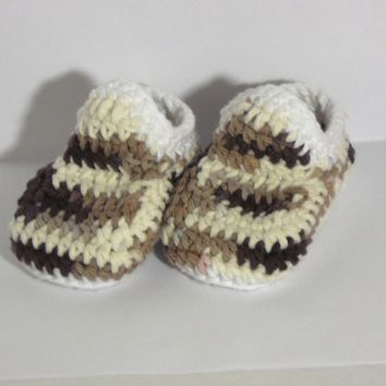 Baby Booties - Earth Tone with White - 0-6 Months