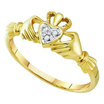 14kt Yellow Gold Women's Round Diamond Claddagh Heart Ring .01 Cttw - FREE Shipping (US/CAN)