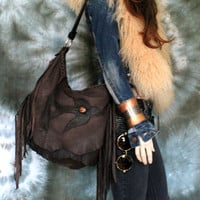 Distressed tribal 2 tones brown leather fringed hobo bag  fringe artistan purse  bohemian african jungle raw leather festival free people