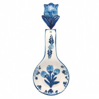 Kitchen Spoon Rest/ Delft Blue 3-D Tulip
