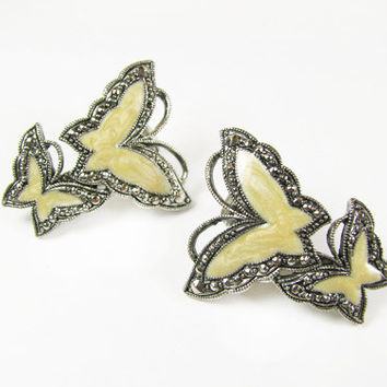 Vintage Butterfly Earrings Faux Marcasites / Vintage BUtterfly Earrings - Boucles d'Oreilles.