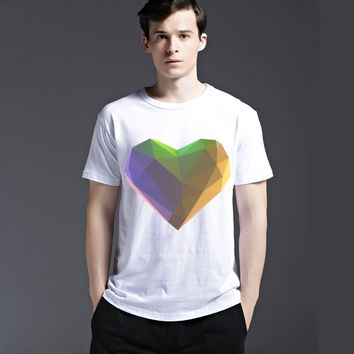 Pattern Tee Summer Slim Men's Fashion Casual Short Sleeve Heart Cotton Round-neck T-shirts = 6450869059