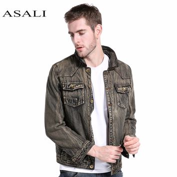 Jacket Men Hooded Sportswear Outdoors Casual fashion Jeans Jackets Hoodies Cowboy Men Jacket and Coat