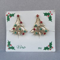 Christmas Tree 1960's Vintage Rhinestone Clip Earrings, Mint on Card Signed VIRO