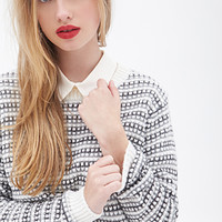 FOREVER 21 Textured Knit Sweater Cream/Black