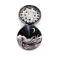 Starry Night Laser Etched Metal Herb Grinder - 4 piece herb grinder w/ FREE bag - trippy weed grinder - Stoner Chic