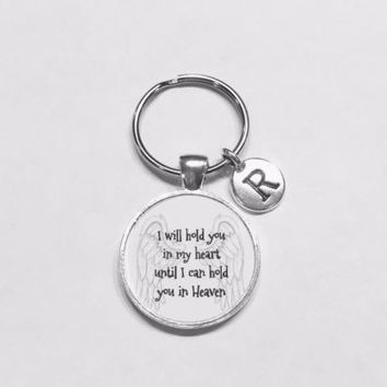 Choose Initial, I Will Hold You In My Heart Angel In Memory Keychain