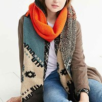 Intarsia Knit Scarf- Blue Multi One
