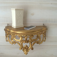 Decorative Wall Shelf, Gold Wall Shelves, Unique Wall Shelf,  Elegant Gold Wall Decor