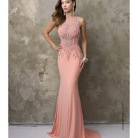 Nina Canacci 2101 Peach Pink Sexy Embellished Long Dress 2016 Prom Dresses