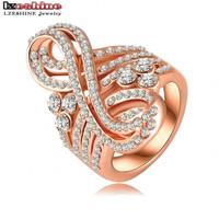LZESHINE Valentine Day Gift for Women  Rose Gold Plate Musical Note Engagement Rings Austrian Crystal Fashion Jewelry Ri-HQ0200