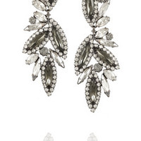 Elizabeth Cole Hematite-plated crystal earrings – 51% at THE OUTNET.COM