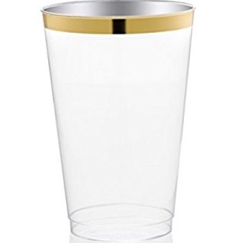 DRINKET Gold Plastic Cups 12 oz Clear Plastic Cups / Tumblers Fancy Plastic Wedding Cups With Gold Rim 50 Ct Disposable For Party Holiday and Occasions SUPER VALUE PACK