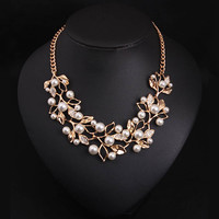 Simulated Pearl Necklaces & Pendants Gold Plated Leaves Statement Necklace Women Collares Ethnic Jewelry for Personalized Gifts