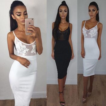 The new sexy perspective lace stitching sling Slim pack hip dress