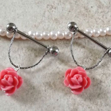 Pink Rose Nipple Ring on Chain Body Jewelry Body by BodyDazzles