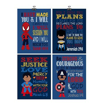 African American Christian Superhero Nursery Decor Art Print Set of 4 -Batman, Captain America, Superman and Spiderman - Multiple Sizes