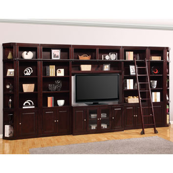 Boston Library Entertainment Wall Ladder 8 Piece Merlot