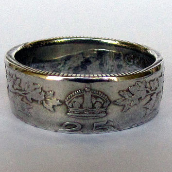 1912 Canadian 25 Cent Coin Ring 92% Silver