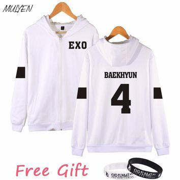 MULYEN Kpop EXO Number Printed Sweatshirt Women Autumn Winter Casual Fleece Hoodies Zipper hoodie Harajuku Sudaderas Mujer